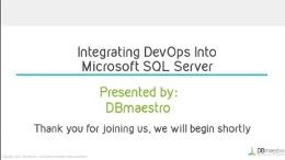 Integrating Microsoft SQL Server into DevOps